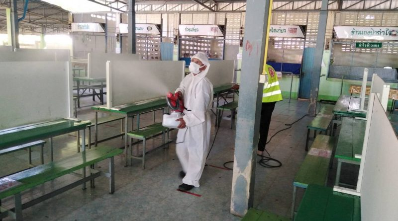 ฉีดพ่นน้ำยาฆ่าเชื้อ ไวรัสโคโรน่า (COVID-19) บริเวณโดยรอบโรงเรียน #รู้เร็ว รู้ทัน ป้องกันอันตราย ไวรัสโคโรน่า 2019